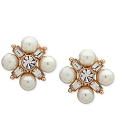 Anne Klein Gold-Tone Crystal & Imitation Pearl Cluster E-Z Clip-On Button Earrings