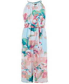 Sequin Hearts Big Girls Floral-Print Jumpsuit