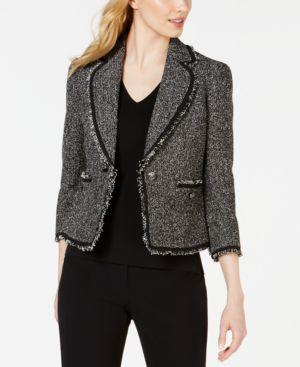 ANNE KLEIN | Anne Klein Boucle Patch-Pocket Notch-Lapel Jacket | Goxip