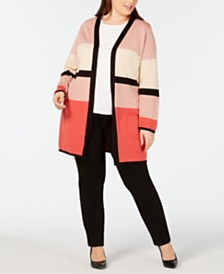 Alfani Plus Size Colorblocked Cardigan, Created for Macy's