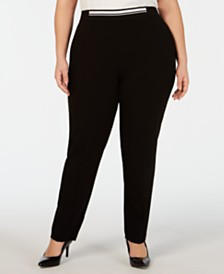 Alfani Plus Size Contrast-Waist Pull-On Pants, Created for Macy's