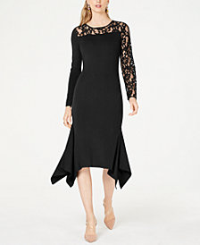 I.N.C. Petite Lace-Inset Sweater Dress, Created for Macy's