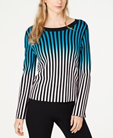 I.N.C. Ombré-Stripe Pullover Sweater, Created for Macy's