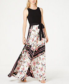 I.N.C. Knit-Top Floral-Skirt Maxi Dress, Created for Macy's
