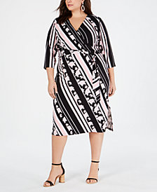 I.N.C. Plus Size Multi-Stripe Printed Wrap Dress, Created for Macy's