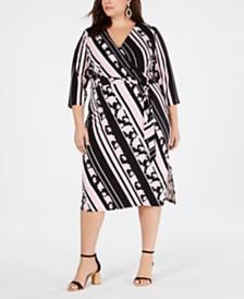I.N.C. Plus Size Multi-Stripe Printed Wrap Dress, Created for Macy's