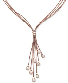 "Cultured Freshwater Pearl (6-1/2 mm) Multi-Strand 18"" Lariat Necklace in 14k Rose Gold-Plated Sterling Silver"