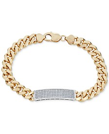 Men's Diamond (1 ct. t.w.) ID Bracelet in 18k Gold-Plated Sterling Silver