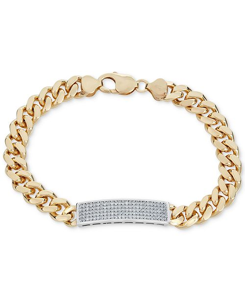 15dca4e12a545 Men's Diamond (1 ct. t.w.) ID Bracelet in 18k Gold-Plated Sterling Silver
