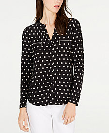 I.N.C. Petite Long-Sleeve Zip-Pocket Top, Created for Macy's
