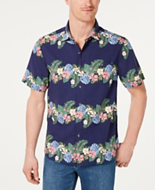 Tommy Bahama Men's Lei Low Classic Fit Textured Floral Stripe Camp Shirt