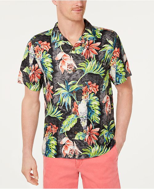641d92e4 ... Tommy Bahama Men's Tahitian Tweets Classic Fit Hawaiian Silk Camp Shirt  ...