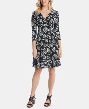 Karen Kane Dresses FLORAL-PRINT FAUX-WRAP DRESS