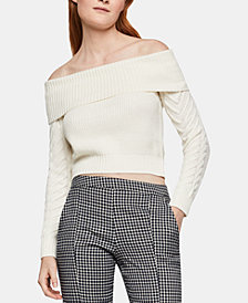 BCBGeneration Off-The-Shoulder Cable-Knit-Sleeve Sweater