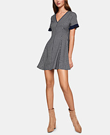 BCBGeneration Herringbone-Print Fit & Flare Dress