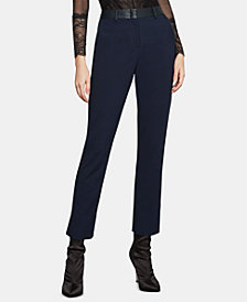 BCBGMAXAZRIA Faux-Leather-Trim Pants