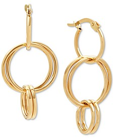 Triple-Drop Hoop Earrings in 14k Gold