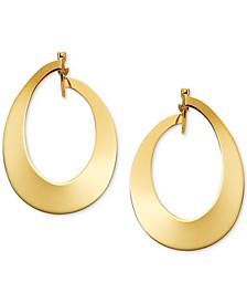 Polished Oval Hoop Earrings in 14k Gold