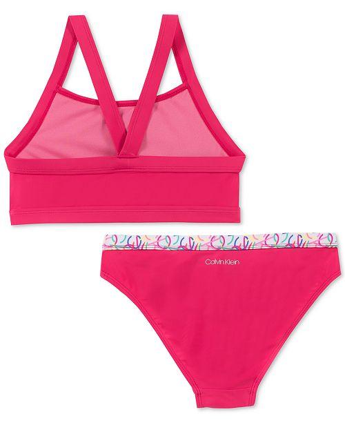02246a99d6 Calvin Klein Big Girls 2-Pc. Logo-Print Bikini Swimsuit   Reviews ...