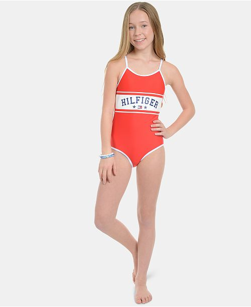 bb01d6cbabb64 Tommy Hilfiger Big Girls Svana Swimsuit & Reviews - Swimwear - Kids ...