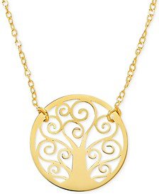 """Family Tree 17"""" Pendant Necklace in 10k Gold"""