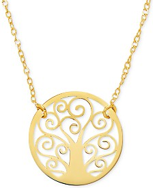 "Family Tree 17"" Pendant Necklace in 10k Gold"