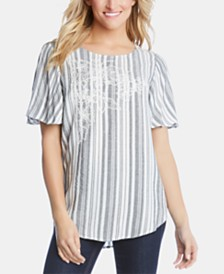 Karen Kane Embroidered Striped Top