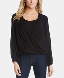 Karen Kane Layered-Look Draped-Front Top