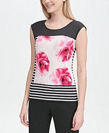 Calvin Klein Sleeveless Mix-Print Top
