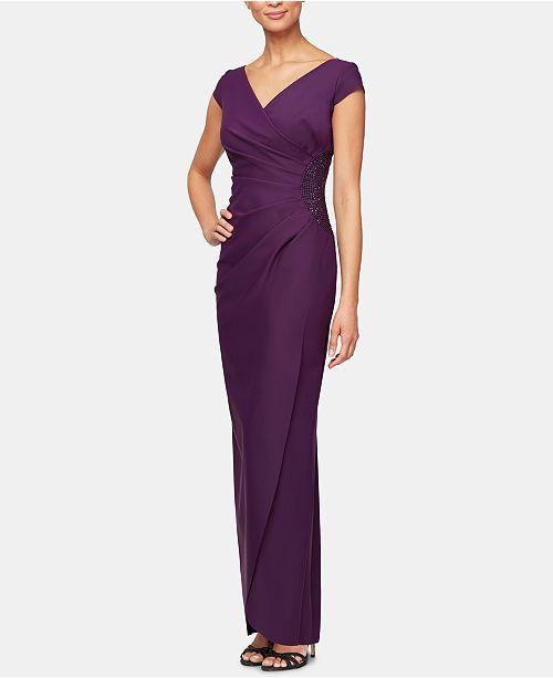 020b4100c34 Alex Evenings Compression Faux-Wrap Gown   Reviews - Dresses - Women ...