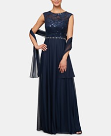 Alex Evenings Floral-Sequined Gown & Shawl