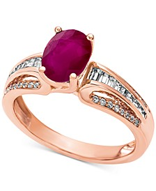 Certified Ruby (1-1/3 ct. t.w.) & Diamond (1/4 ct. t.w.) Ring in 14k Gold (Also available in Emerald )