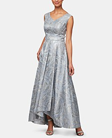 Metallic-Printed High-Low Gown