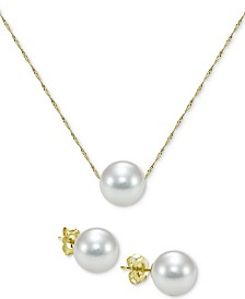 2-Pc. Set Akoya Cultured Pearl (7mm) Pendant Necklace & Stud Earrings in 14k Gold