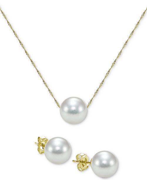 Macy's 2-Pc. Set Akoya Cultured Pearl (7mm) Pendant Necklace & Stud Earrings in 14k Gold