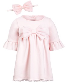 First Impressions Baby Girls Ponté-Knit Dress & Headband Separates, Created for Macy's