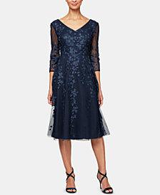 Alex Evenings Petite Embroidered Midi Dress