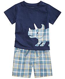 First Impressions Baby Boys Plaid Rhino T-Shirt & Coastal Plaid Shorts Separates, Created for Macy's