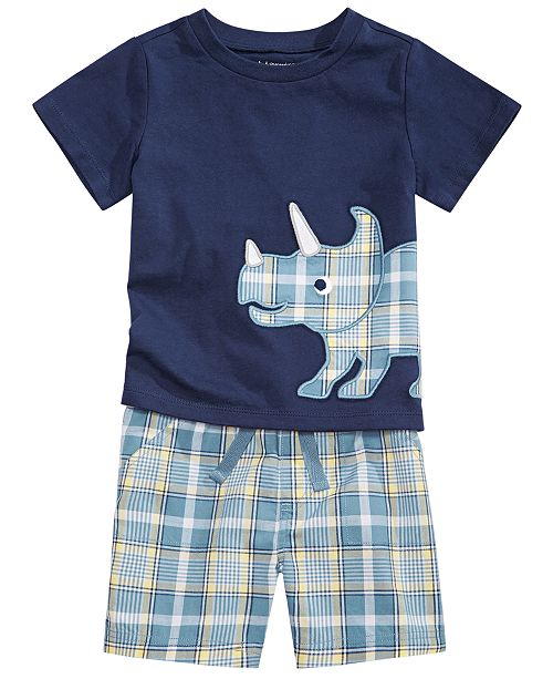First Impressions Baby Boys Plaid Rhino T-Shirt & Coastal Plaid Shorts Separates, Created for Macy's
