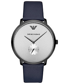 Emporio Armani Men's Blue Leather Strap Watch 42mm