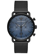 4dfe4001a18 Emporio Armani Men s Chronograph Black Stainless Steel Mesh Bracelet Watch  43mm