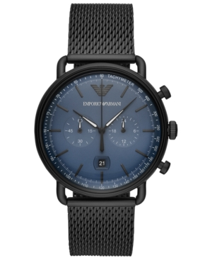 Emporio Armani Men's Chronograph Black Stainless Steel Mesh Bracelet Watch 43mm