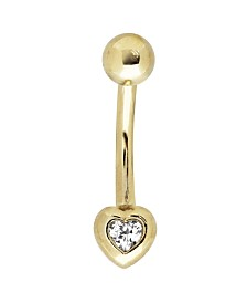 Bodifine 10K Gold Heart CZ Belly Bar
