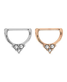 Bodifine Stainless Steel Set of 2 Colors Crystal Clicker Nipple Rings