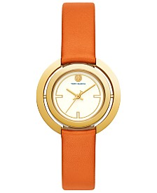 Tory Burch Women's Grier Orange Leather Strap Watch 26mm