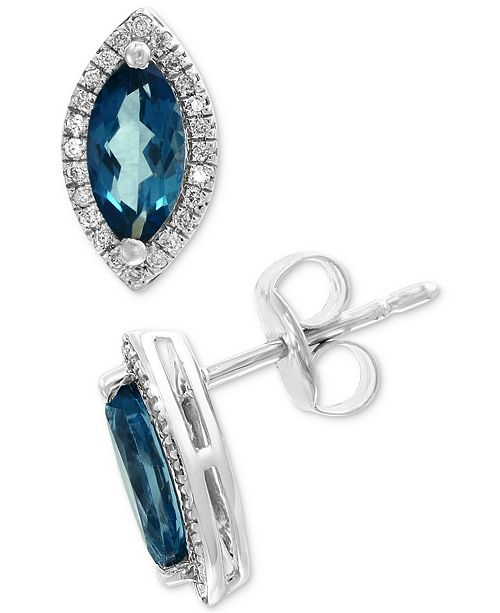 EFFY Collection EFFY® Blue Topaz (9/10 ct. t.w.) & Diamond (1/10 ct. t.w.) Stud Earrings in 14k White Gold