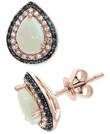 EFFY® Opal (3/8 ct. t.w.) & Diamond (1/3 ct. t.w.) Stud Earrings in 14k Rose Gold
