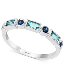 Blue Topaz (1/3 ct. t.w.) and Sapphire (1/5 ct. t.w.) Ring in 14k White Gold