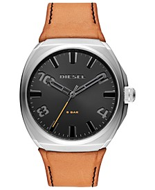 Men's Stigg Brown Leather Strap Watch 48mm