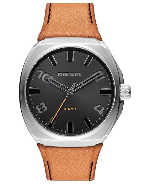 Diesel Men's Stigg Brown Leather Strap Watch 48mm